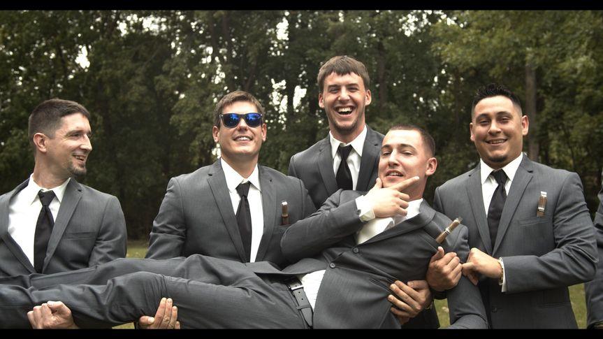 Having fun with the groomsmen