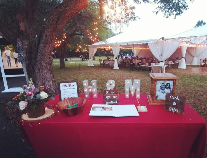 Welcome table and reception tent