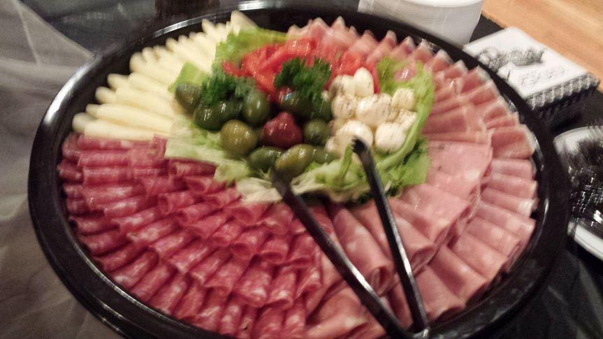 Antipasto Platter consisting of Prosciutto, Mortadella, Genoa Salami, Sopressata, Provolone, Olives,...