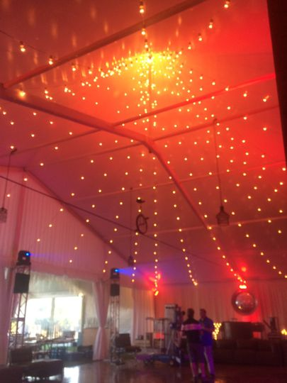 Lights draping from the dome tent.