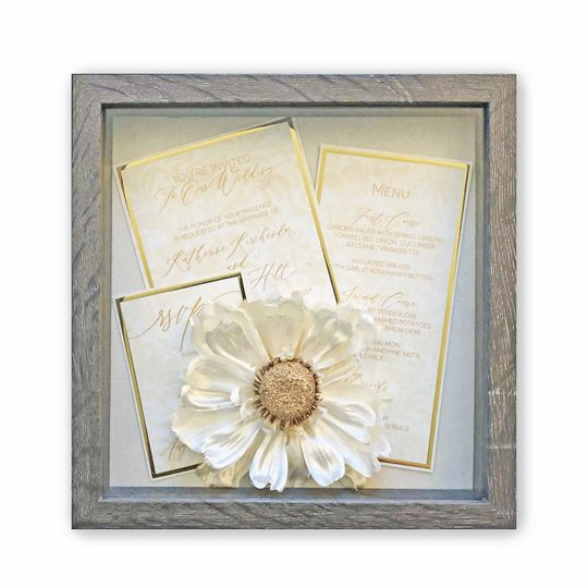 Gold wedding invitation with foil treatment
