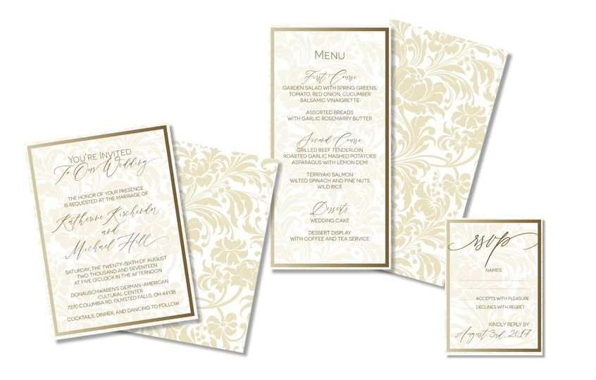 Gold-lined invitations with foil treatment
