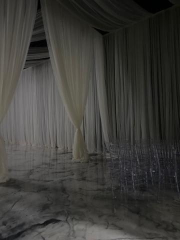 Soft white draping