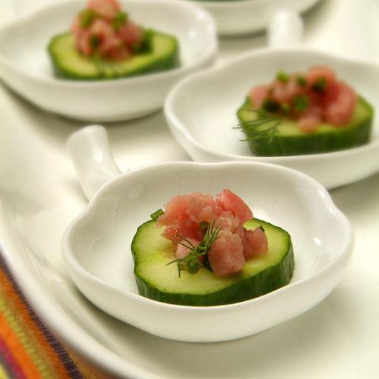 Salmon Bruschetta on Cucumbers