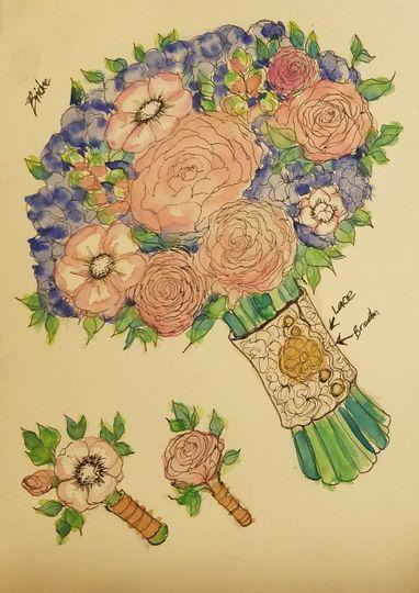Vivid Expressions LLC custom Bridal Bouquet concept design. Vivid Expressions event design, floral...