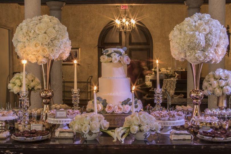 Elegant cake table setup