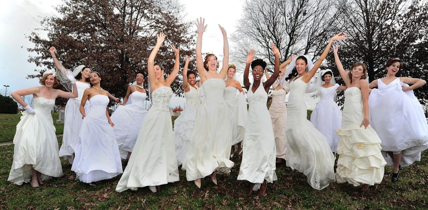 Brides jump for joy when they discover St. Anthony's Bridal. These are models from our Brides on a...