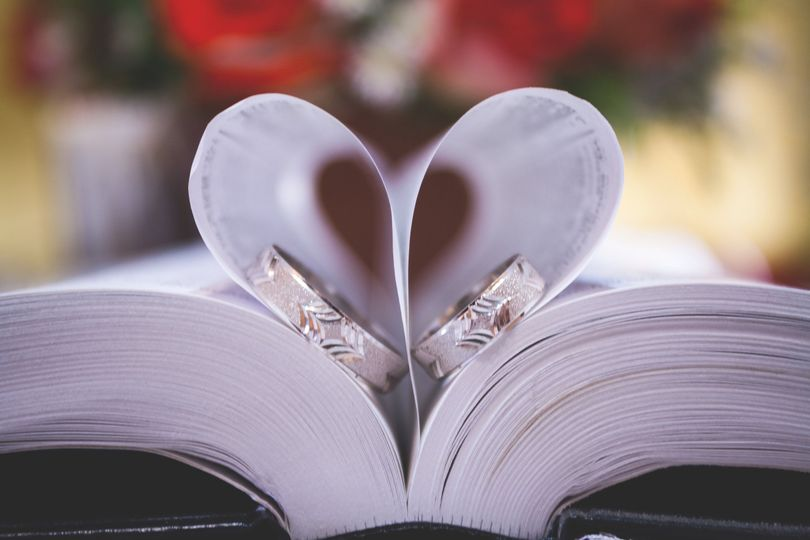 Wedding rings between the pages