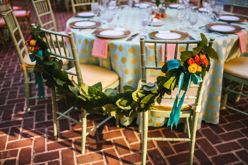 Garland on the chairs