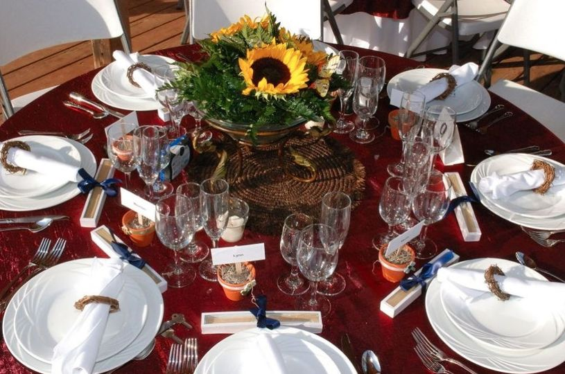 Table setup with sunflower centerpiece