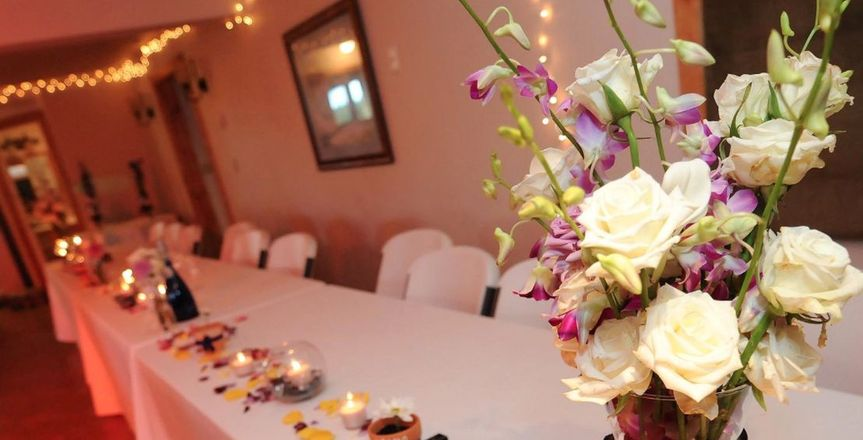 Table setup with petals and candles