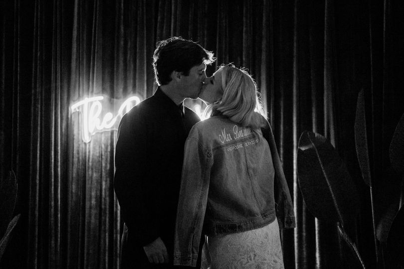 A kiss in black and white