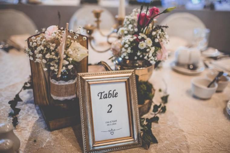 Table number and centerpieces