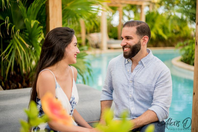 Engagement by the pool