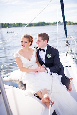 Newlyweds on the yacht