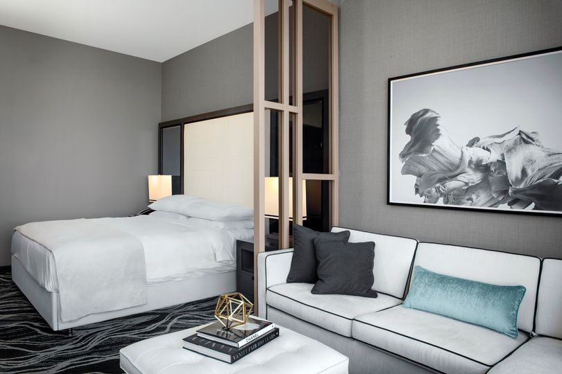 Suite with white and blue accents