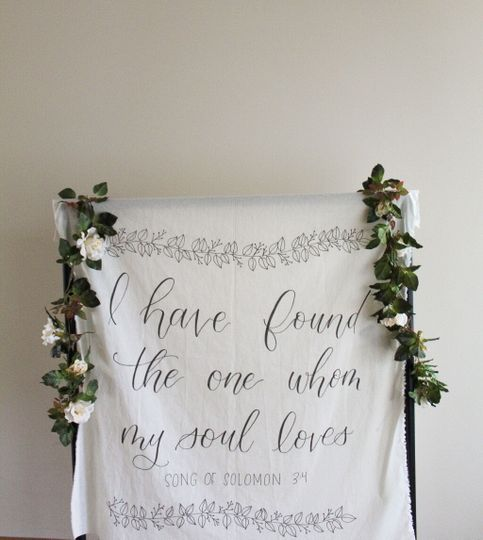3'x5' hand-lettered tapestry
