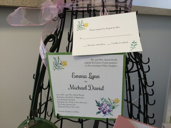 Square Panel Invitation and Mat with RSVP Card.