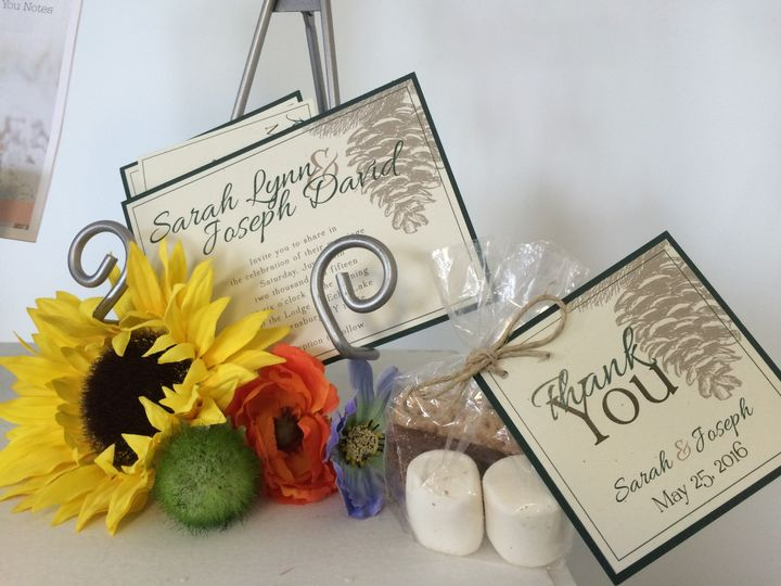 Panel Invitation with Mat and Matching Favor.