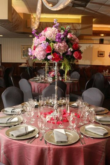 Tables setup with centerpiece