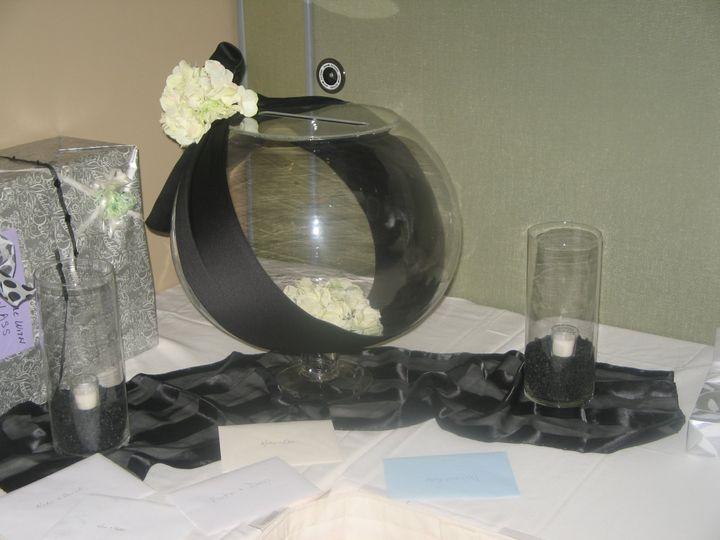Tmx 1487380178000 Glass Card Urn With Black Sash And Ivory Hydrangea Dubuque, IA wedding rental