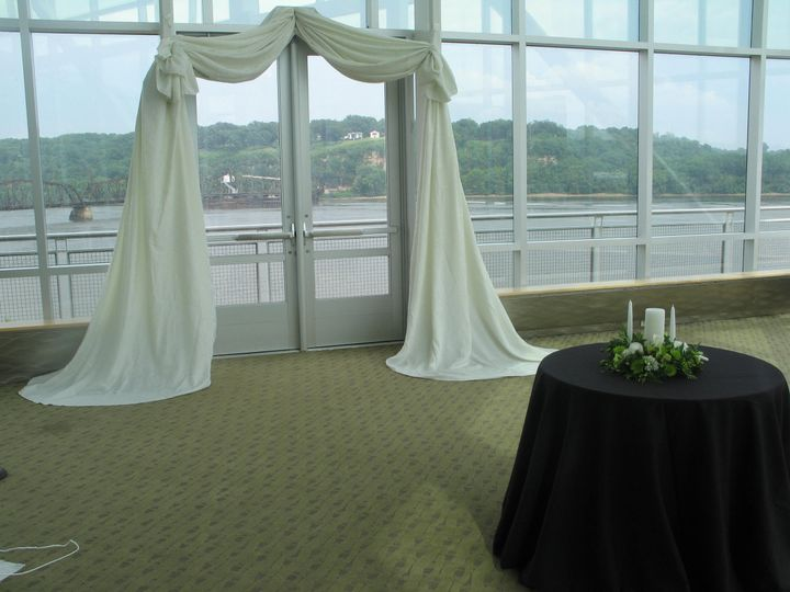 Tmx 1487969309734 Ceremony With Ivory Damask Fabric Arch To Cover Ex Dubuque, IA wedding rental