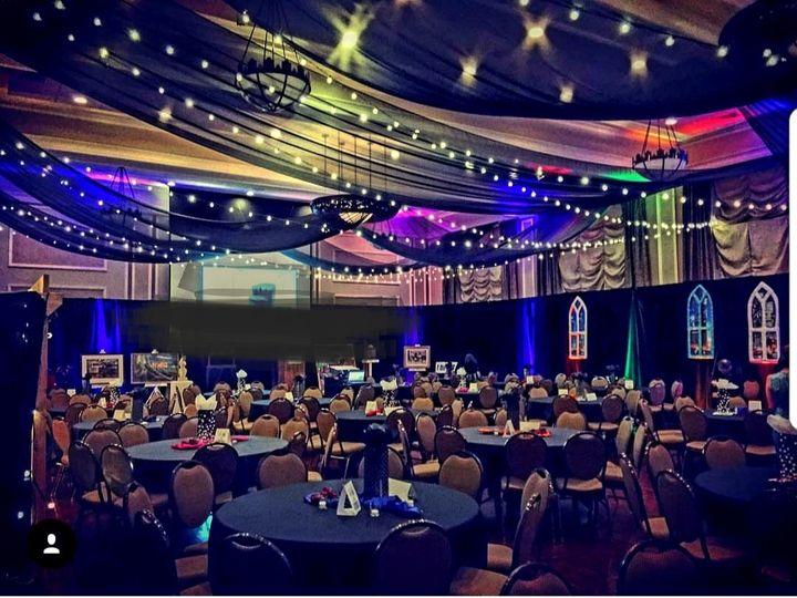 Tmx Ceiling Has Black Sheer Fabric And Black Velvet Pd Hotel Julien With Cafe And Uplights From Idr 51 86539 158043541343640 Dubuque, IA wedding rental