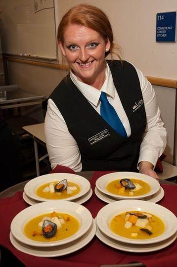 server showing food