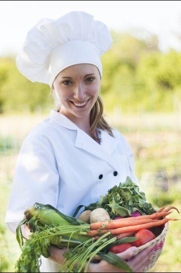 chef with garden basket