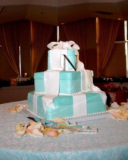 """This wedding cake was from a """"Tiffany's"""" themed wedding we consulted in April 2007.  The bride..."""