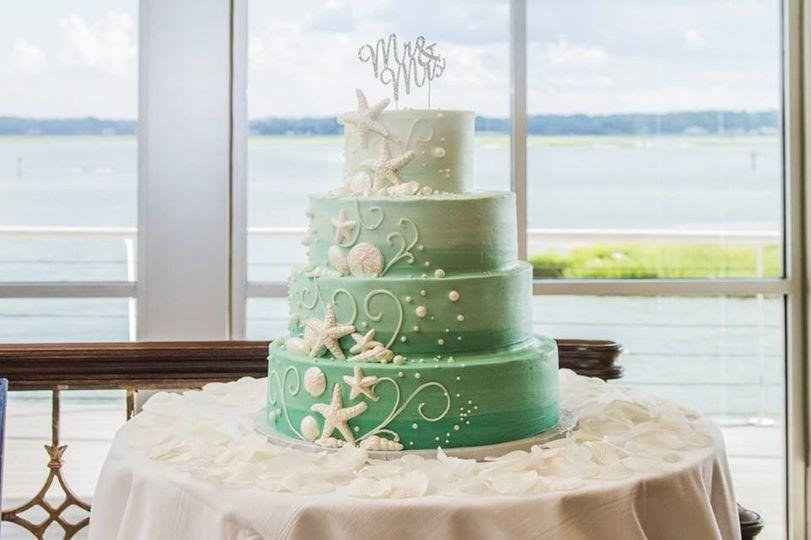 White to green cake