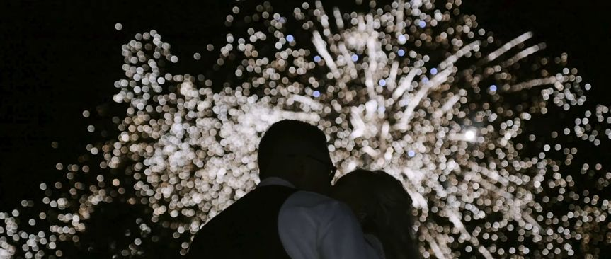 Kiss under the fireworks
