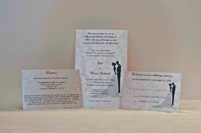bride and groom invite set
