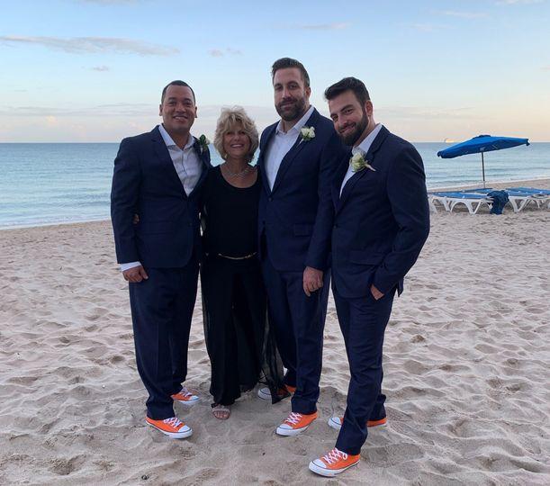 Groomsmen in the sand