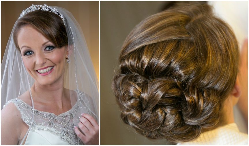 Front and back details of updo