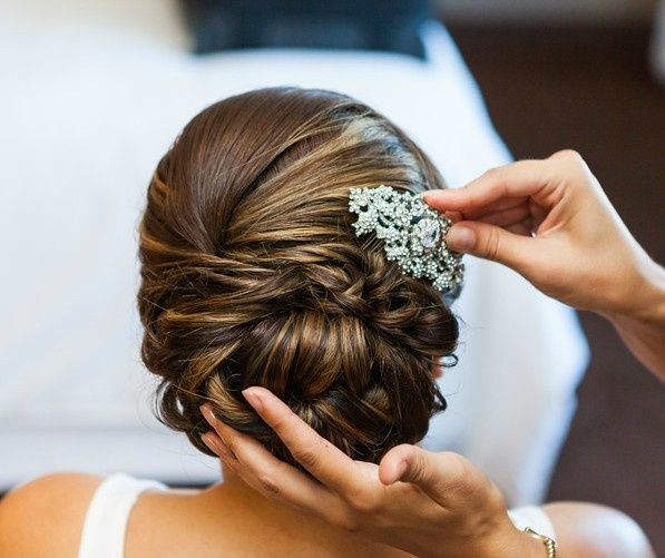Bridal updo and hairpin