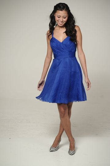 Dewdrop  Surplus ruched v-neck bodice with party skirt & attached sash.  Available in various...