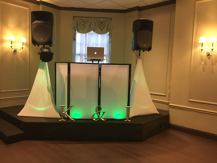 DJ booth and lighting