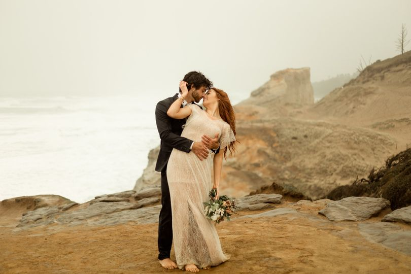 A wind-swept embrace