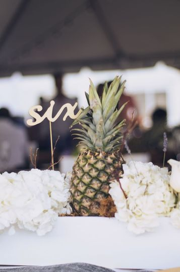 Table number and pineapple centerpiece