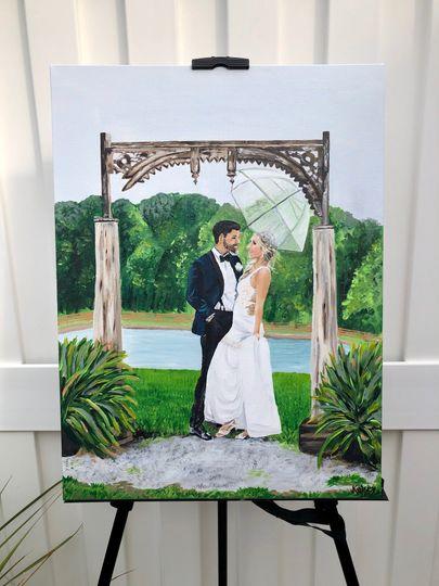 Newlywed couple in acrylic