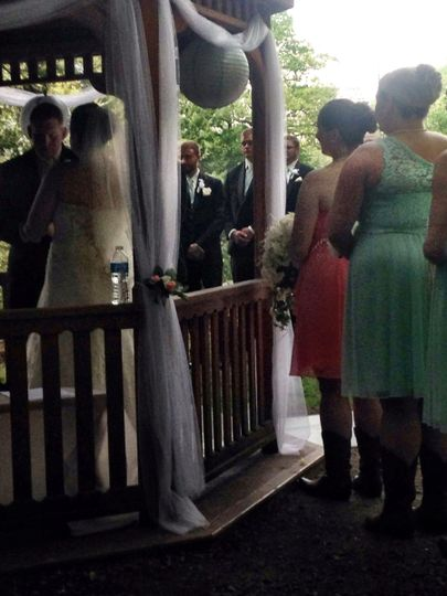Outdoor wedding in Cascade Park, New Castle, PA - The view from the musicians' tent!