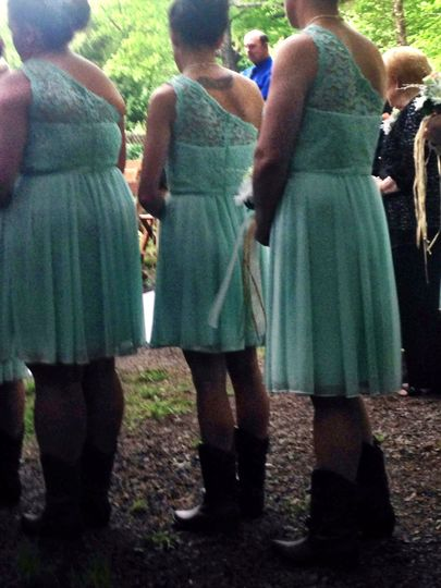 7 Beautiful bridesmaids in lovely pale green dresses and very chic cowboy boots. Outdoor wedding in...