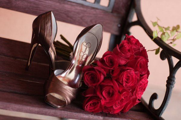 Wedding heels and bouquet