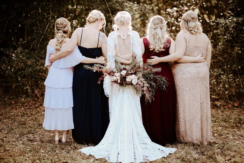 A bride and her bridesmaids.