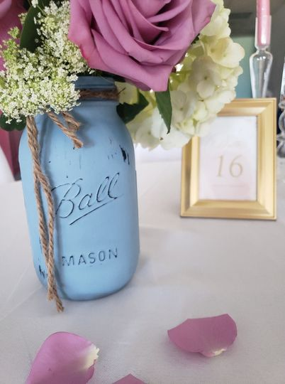 Dusty blue and blush table