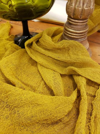 Cotton gauze runners, mustard