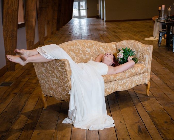 Bride on antique sofa
