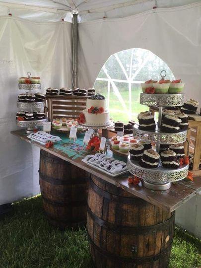 Whiskey barrel sweet table!