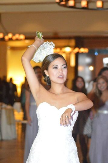 Bride throwing the bouquet